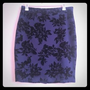 Navy Blue with Black Velvet Floral plus size skirt